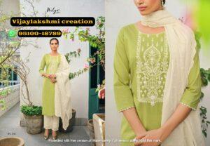 nitya gulshan 106 light olive green cotton kurti set