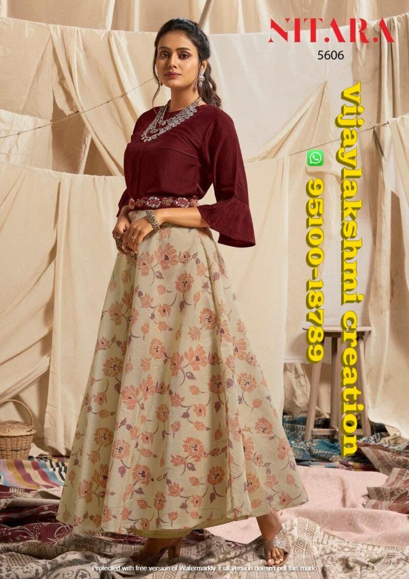 nitara 5606 sparkles vol 6 top with skirt maroon color