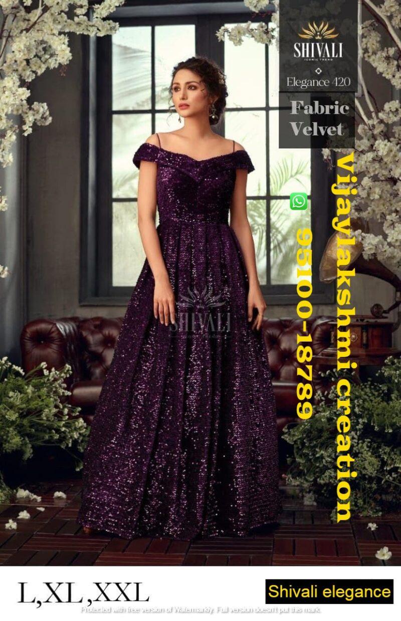 shivali elegance 420 velvet top with bottom