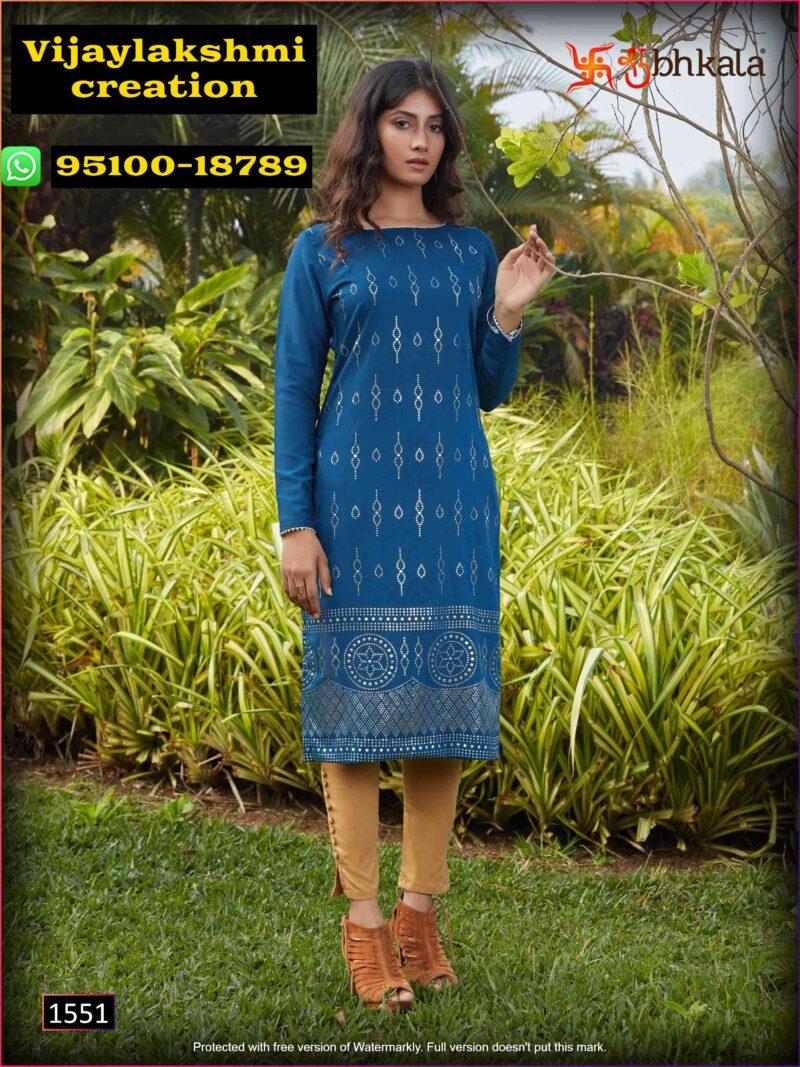 Shubhkala Naari Vol 1 1551 Teal Blue Kurti