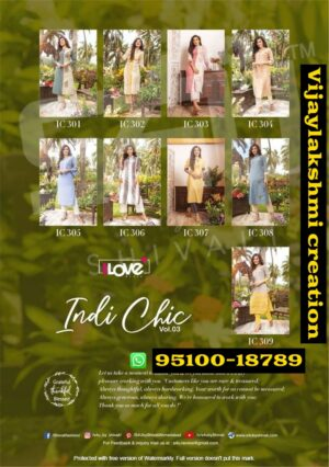 1Love from S4U Indi Chic Vol 3 IC 301-B Kurti Pant Full Catalog and in singles