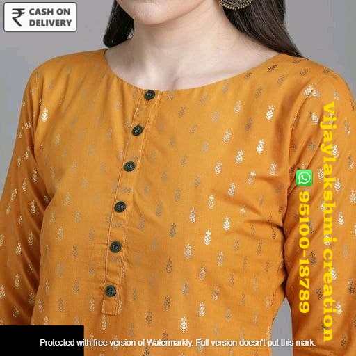 Golden1 Women Cotton Straight Printed Long Kurti With Palazzos