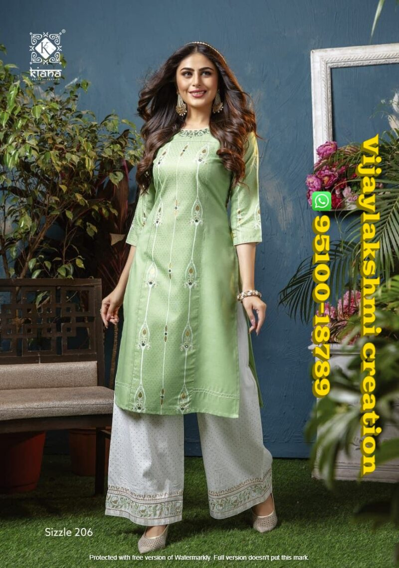 kiana sizzle 206 kurti with sharara pant