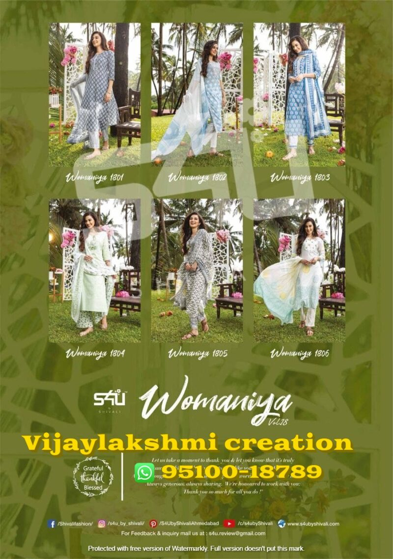 s4u Womaniya Vol 18 cotton kurti collection