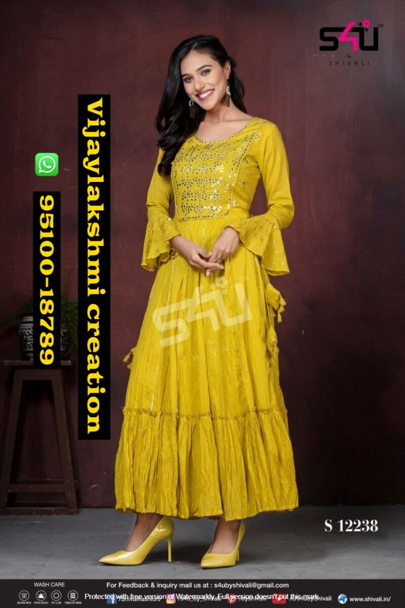 s4u fd S 12238 yellow flared gown