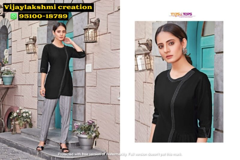 tips&tops friends black short tops with pant