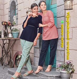 tips&tops friends blue pink combo short tops with pant