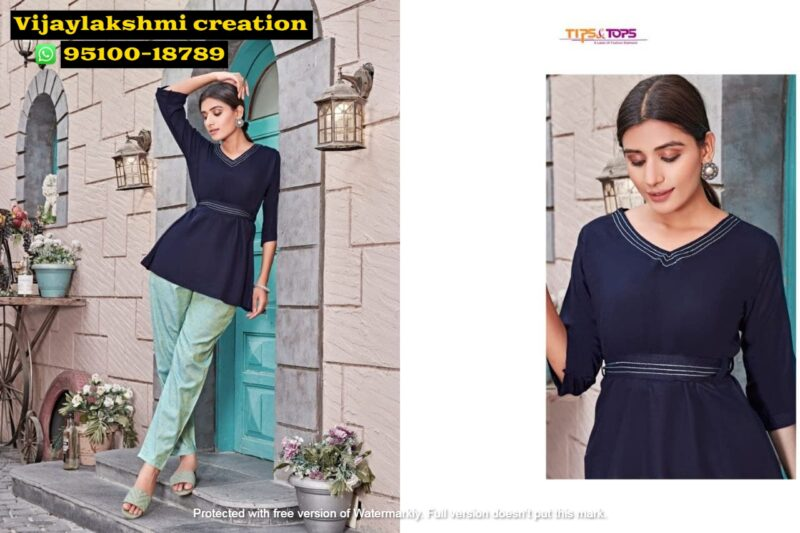 tips&tops friends dark blue short tops with pant
