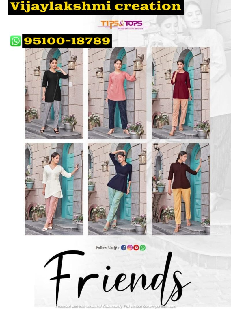tips&tops friends short tops with pant
