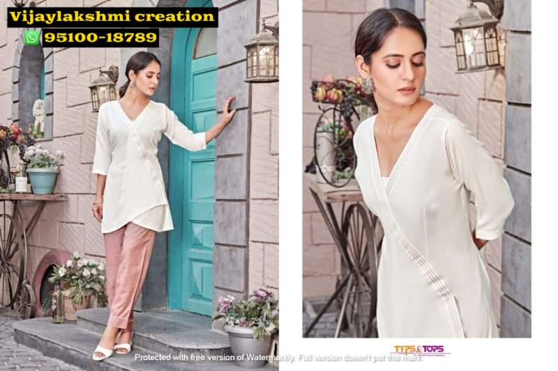 tips&tops friends white short tops with pant