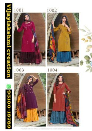 Anieya Saborni Chinon Kurti Sharara Dupatta Set Collection full catalog and in singles