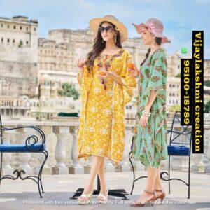 kajal style cocktail vol 1 cotton kaftan catalog and i singles
